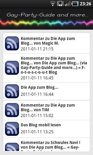 Screenshot der Gay-Party-Guide App - Artikel Listenansicht